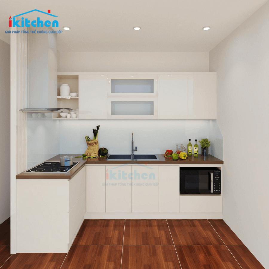 Hình ảnh thiết kế 3D tủ bếp nhà Chị Yến – Chung cư Samsora, 105 Chu Văn An, Hà Nội