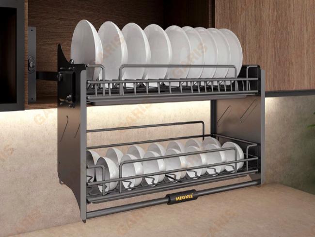 Kích thước chuẩn của giá bát nâng hạ khi lắp đặt phụ kiện tủ bếp